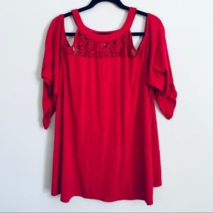 Torrid Red cold shoulder top with lace detail 3